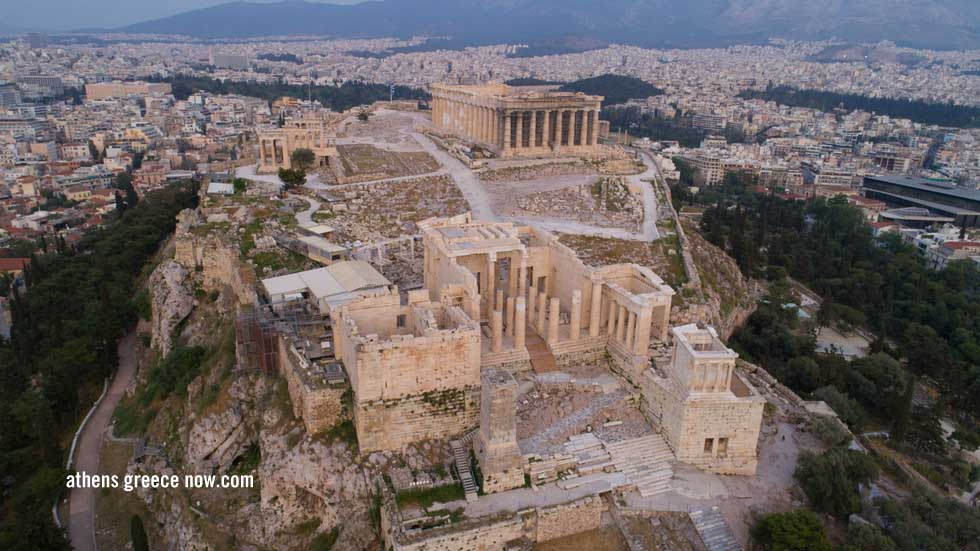 Aerial view of Athens Greece the Acropolis from the Sky