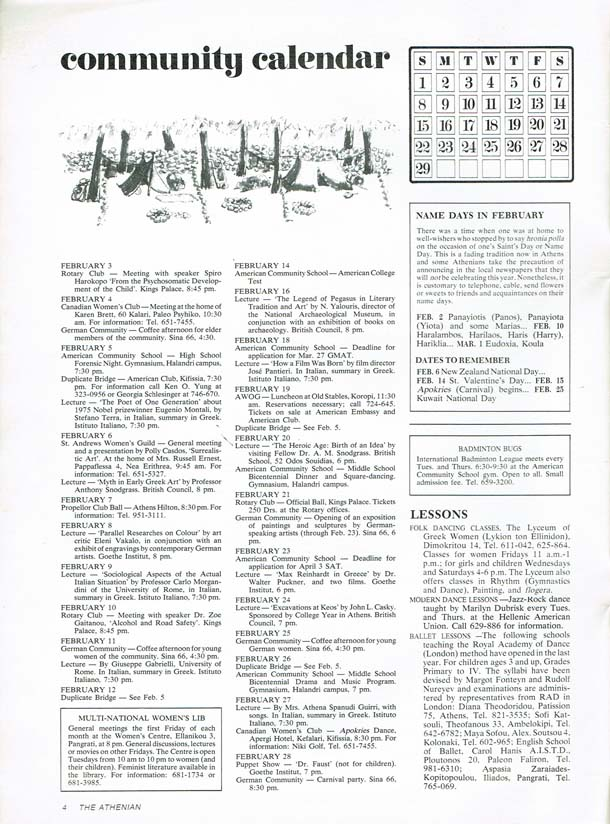 Community Calendar Page - Feb 1976 - The Athenian