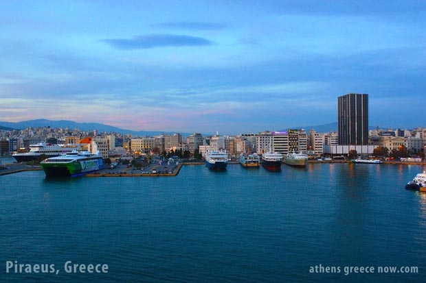 Piraeus Greece - Ships in the harbor