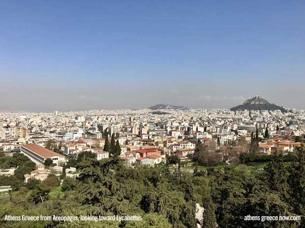 Athens Greece City - view of Lycabettus Hill from Areopagus