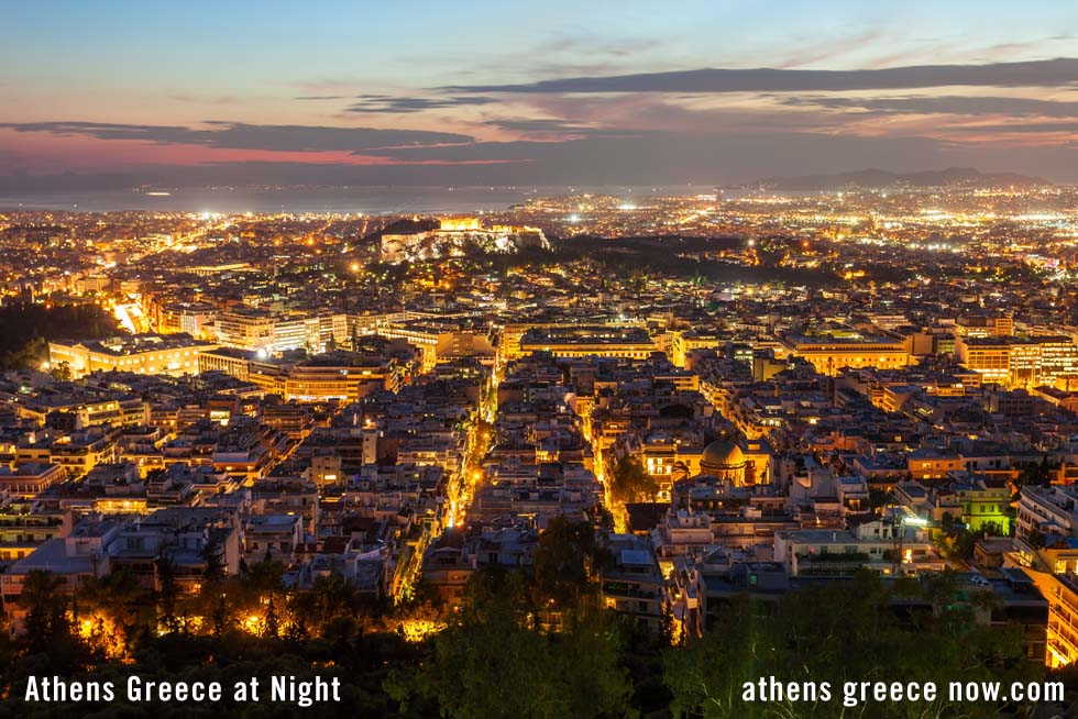 Athens Greece at night with Acropolis