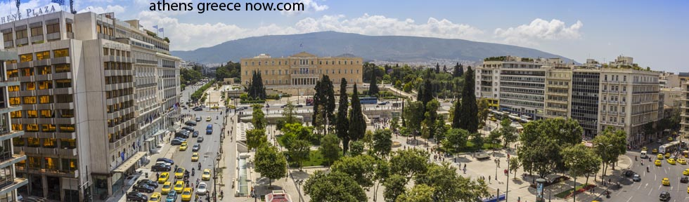 Panorama of Syntagma Square Athens Greece