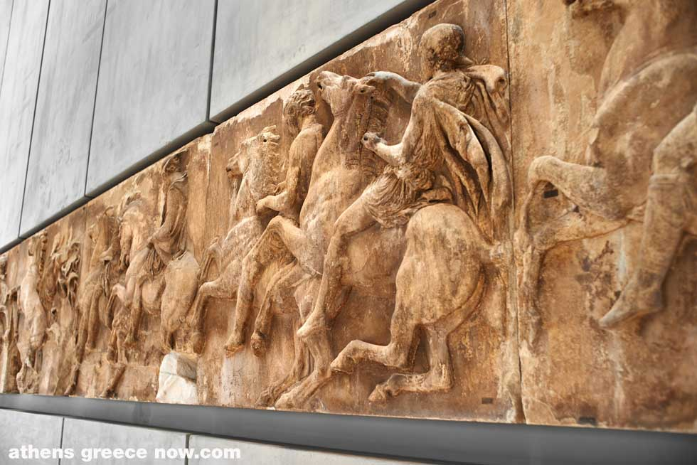 Horsemen section of west frieze from the Elgin Marbles of Parthenon in the Acropolis museum.