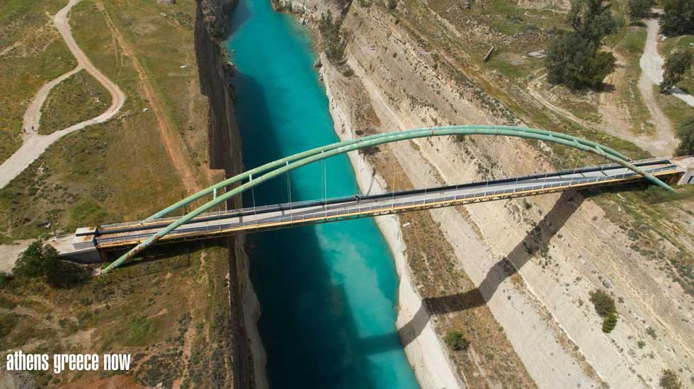 Aerial view of walk bridge over the Corinth Canal Greece