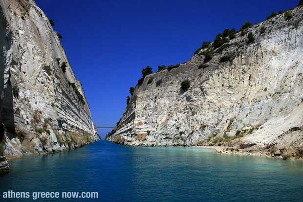View of the Corinth Canal in Greece