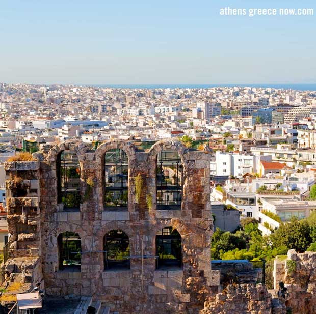 View of Athens Greece from Odeon of Herodes Atticus