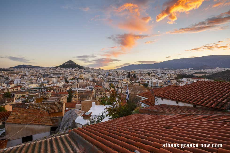 Athens Greece at Sunset with Mount Lycabettus in the distance