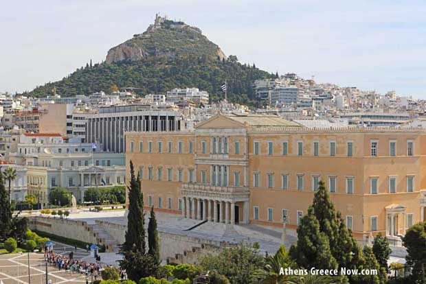 Lycabettus and Syntagma Parliament Building - Athens Greece