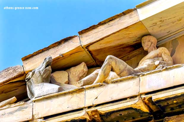 Corner pediment at the Acropolis Parthenon in Athens, Greece