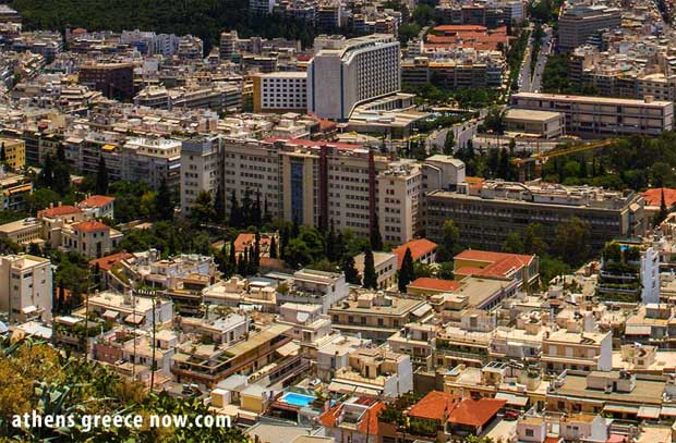 Over Athens Greece - Hilton Hotel and Evaggelismos General Hospital