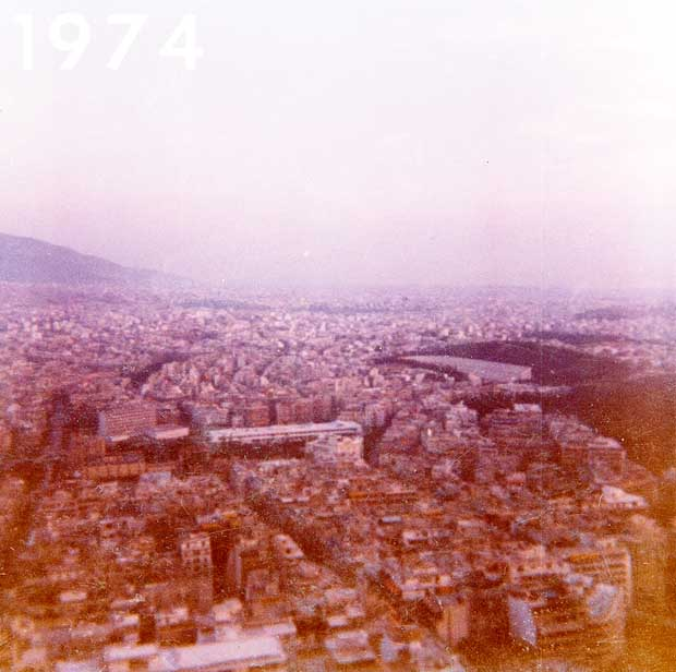 Athens Greece from Lycabettus 1974