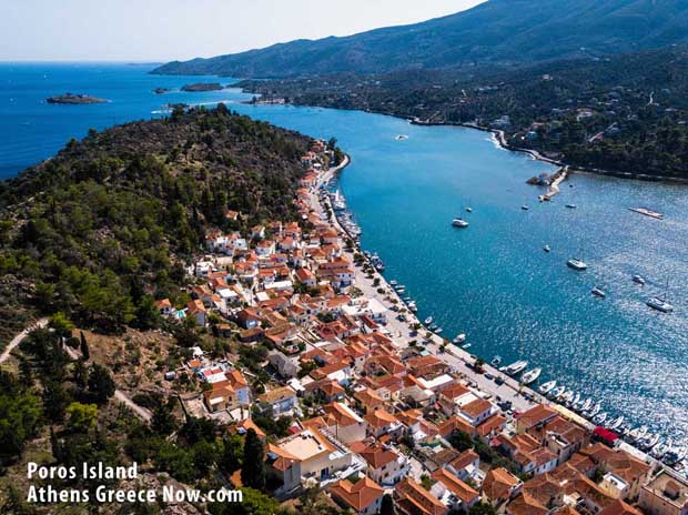 Poros Island - Greece - from the sky over harbor