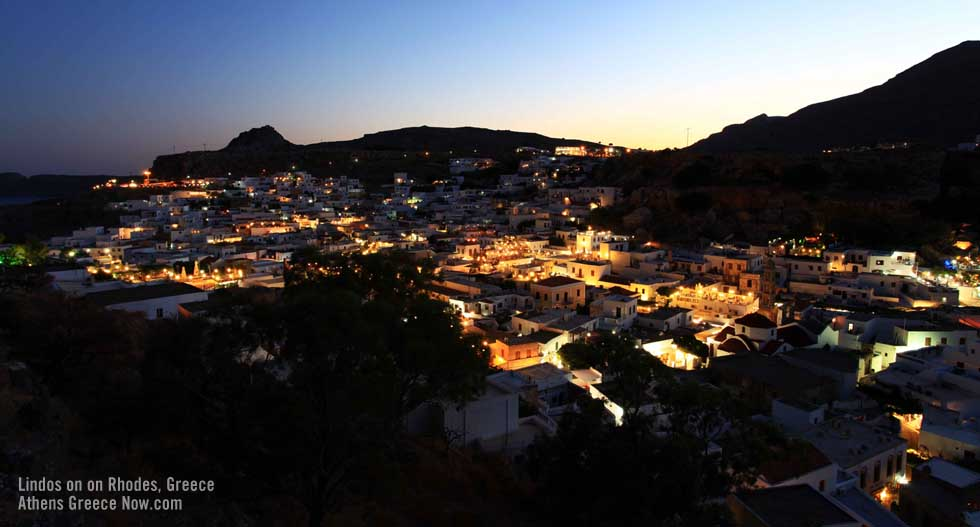 Lindos by night on Rhodes Greece