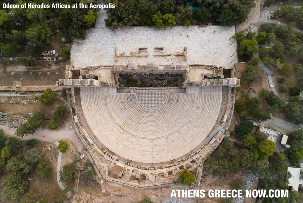 sky view drone - Odeon of Herodes Atticus at the Acropolis in Athens Greece
