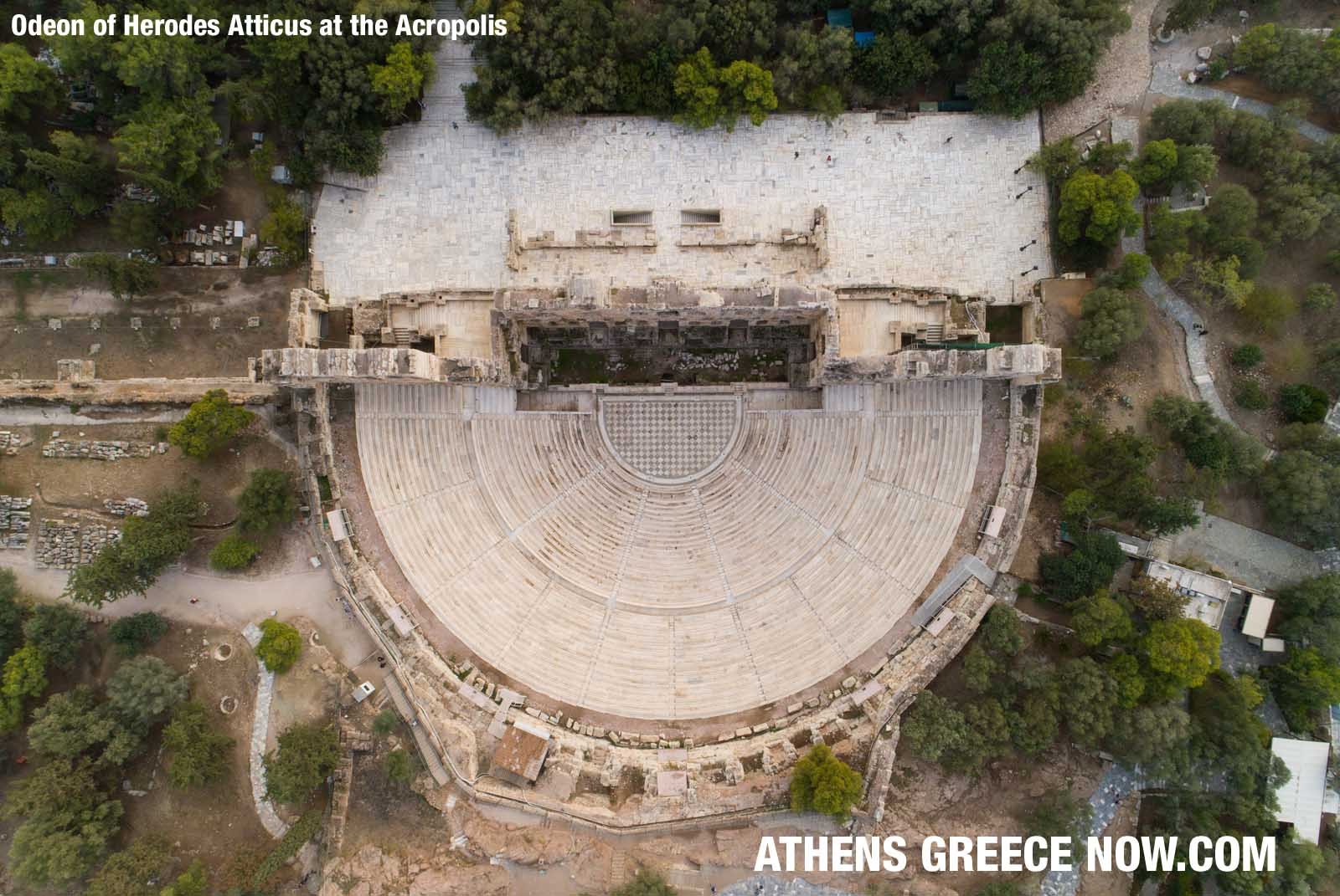 Enlarged - sky view drone - Odeon of Herodes Atticus at the Acropolis in Athens Greece
