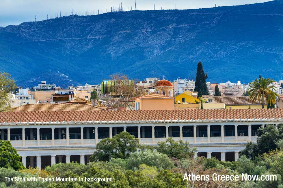 Mount Aigaleo and the Stoa of Attalos in Greece