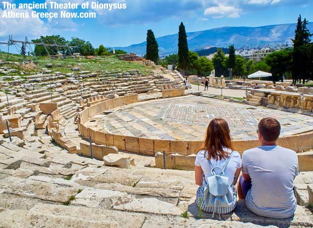 Ancient Greek Theater of Dionysus below the Acropolis in Athens Greece