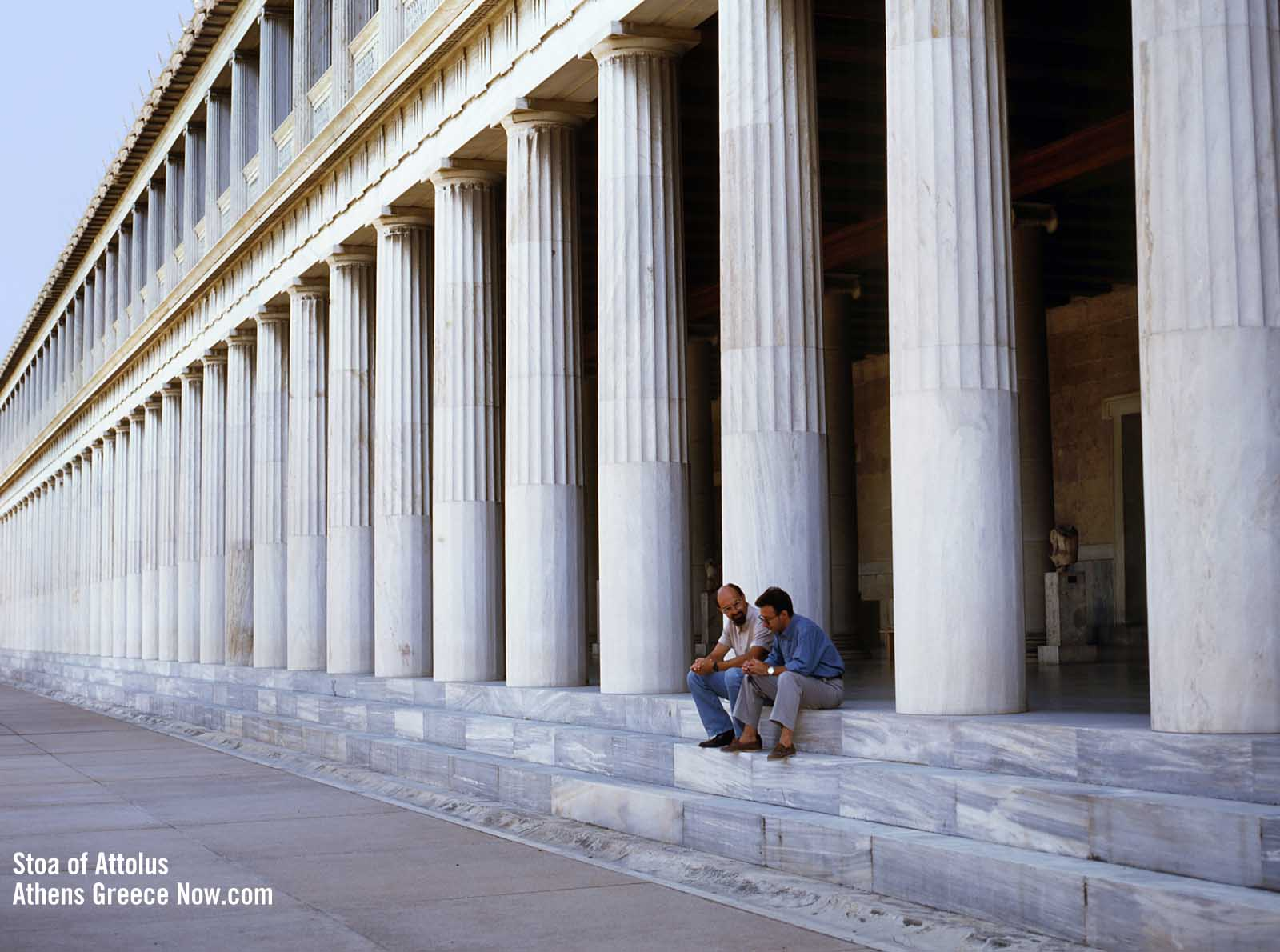 Enlarged view - Stoa of Attalos in Athens Greece with Doric and Ionic Columns