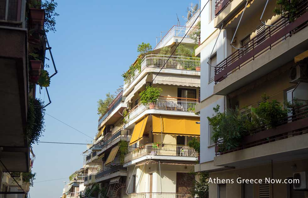 Athens street balcony with plants