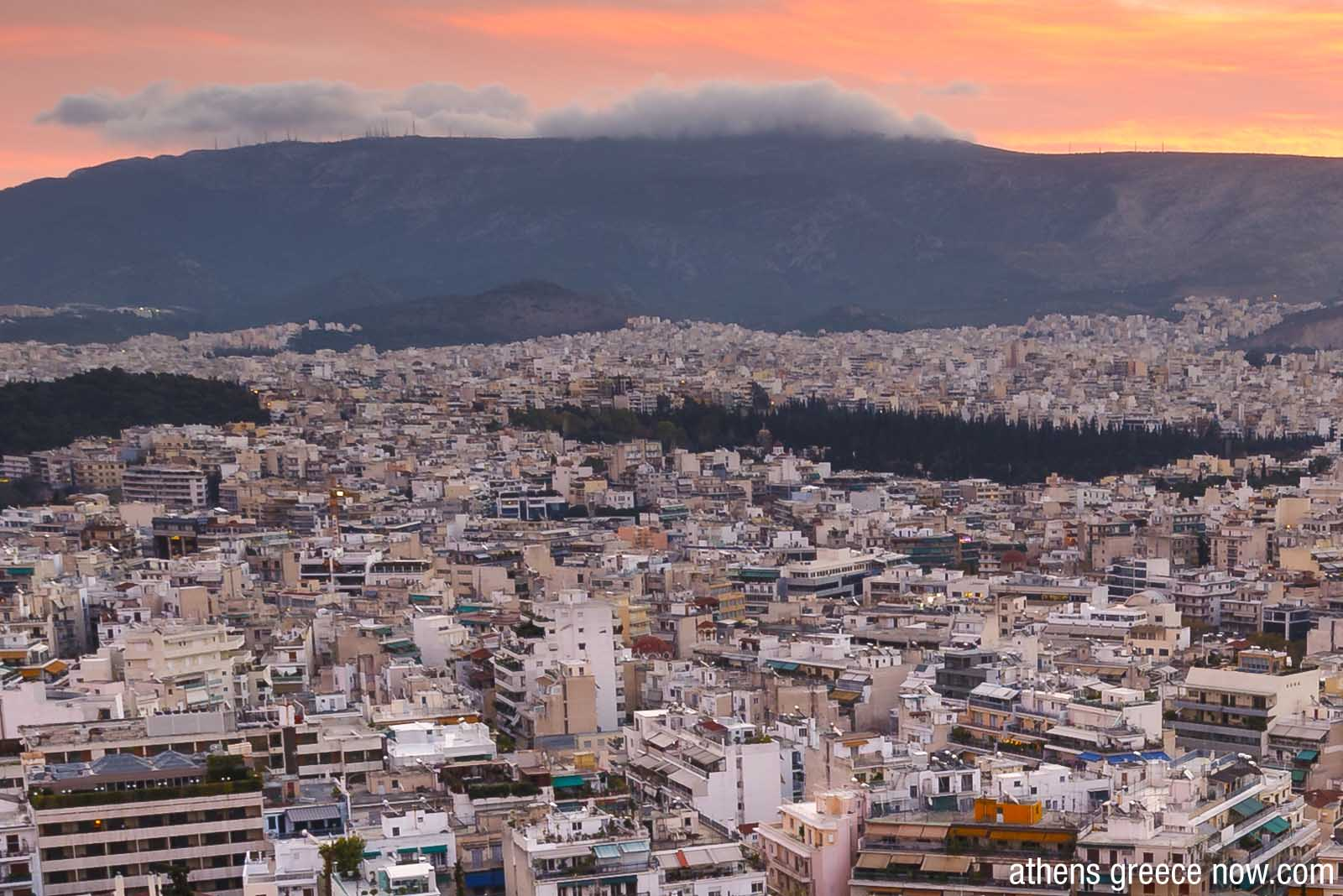 Enlarged - Athens Greece and Hymettus