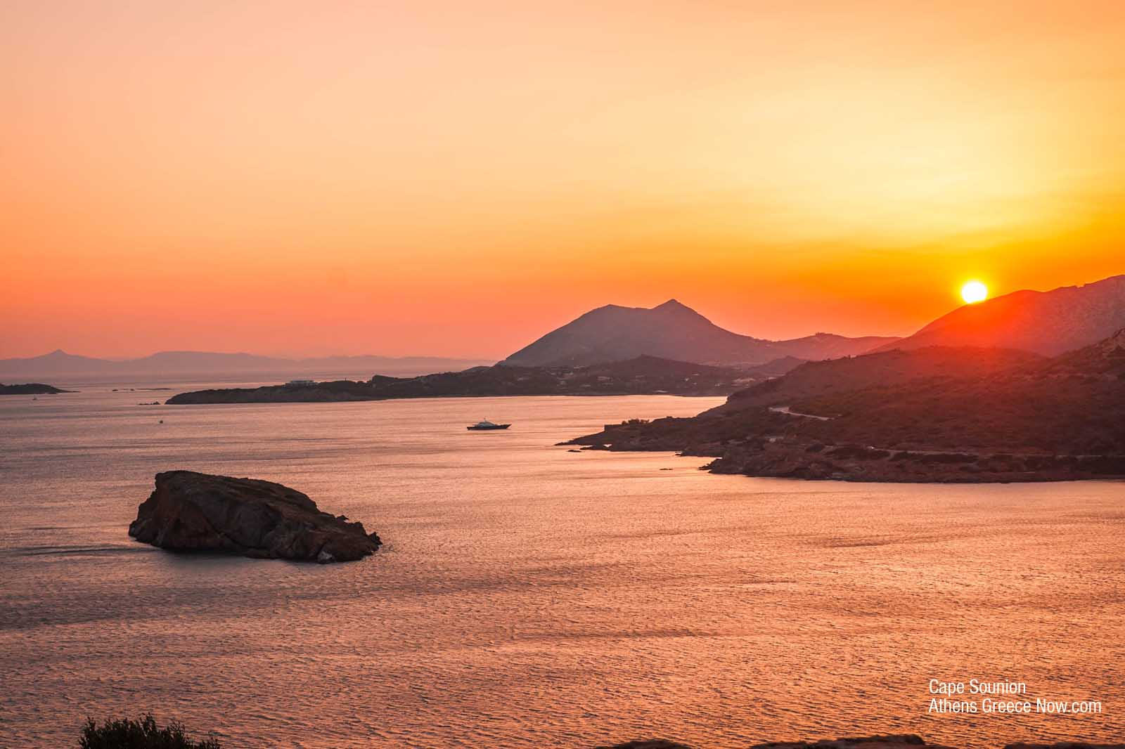 Enlarged sunset image - Cape Sounion Greece