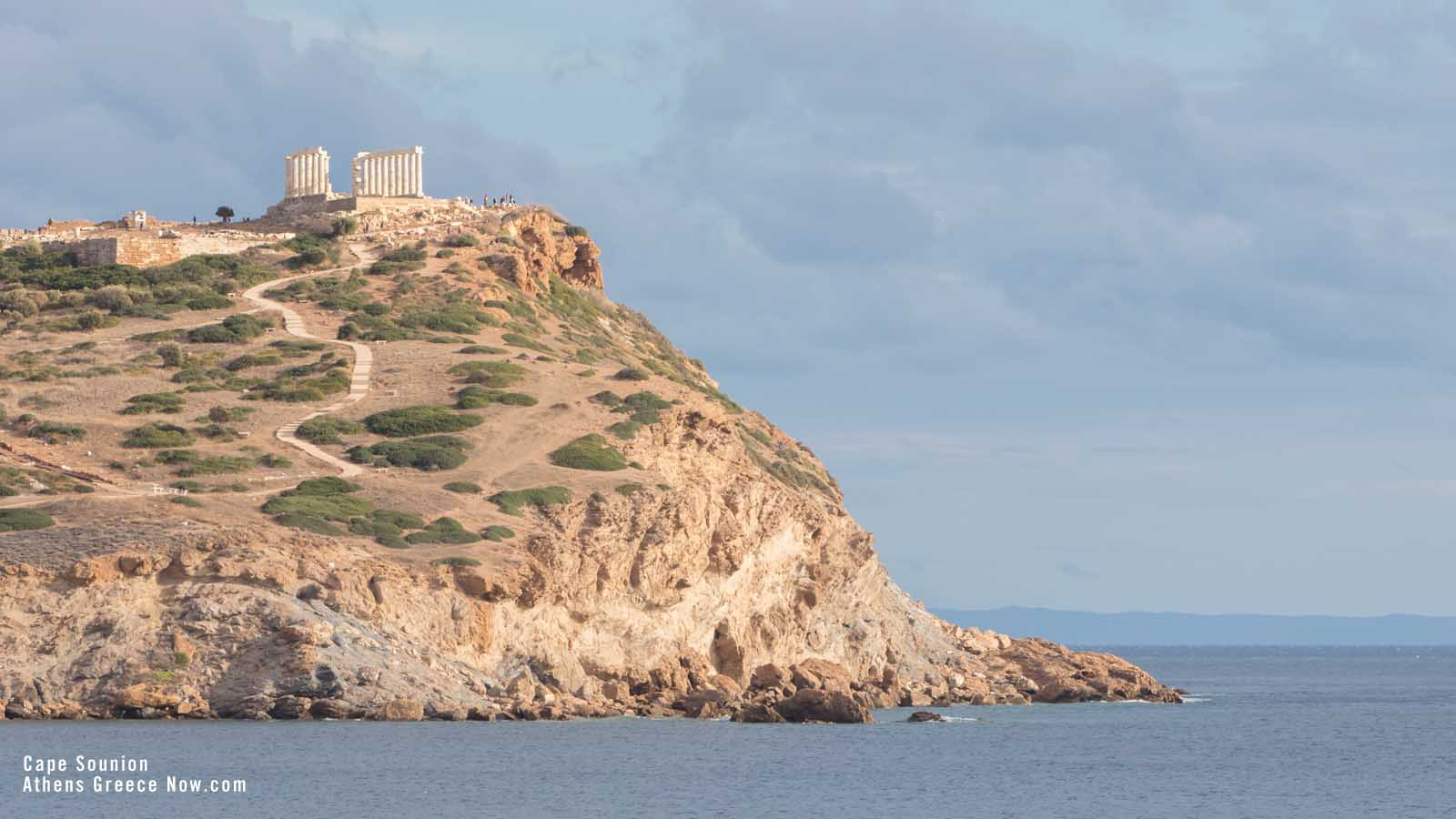 Enlarged - Cape Sounion - with Temple on peak