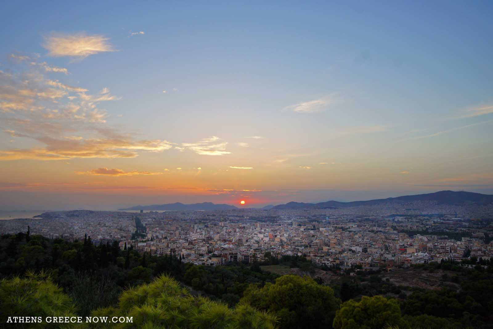 Enlarged - Sunset over Athens Greece