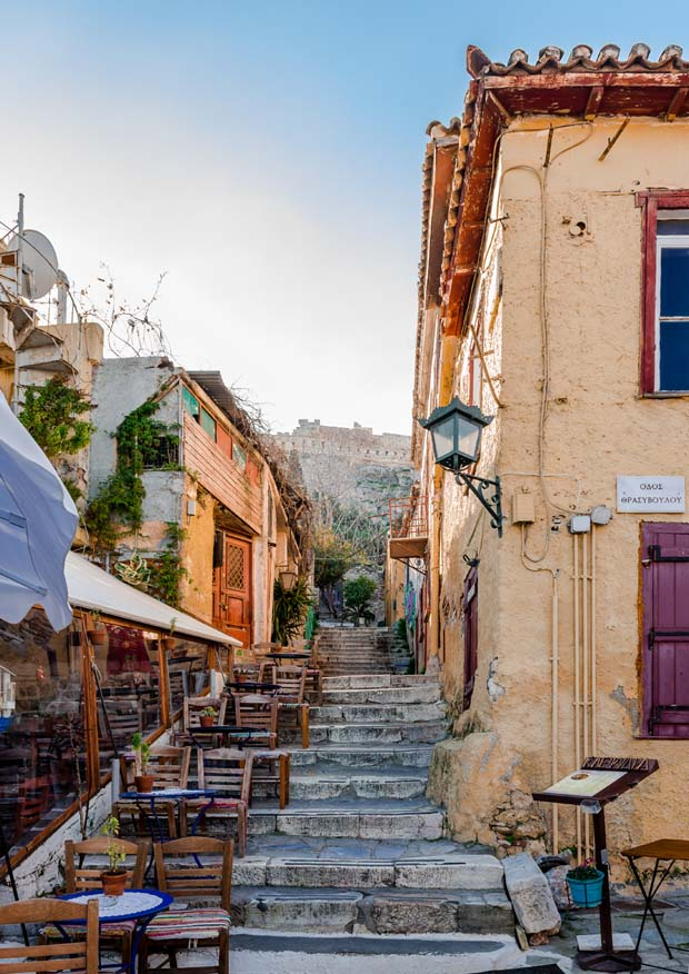 Plaka area in Athens Greece