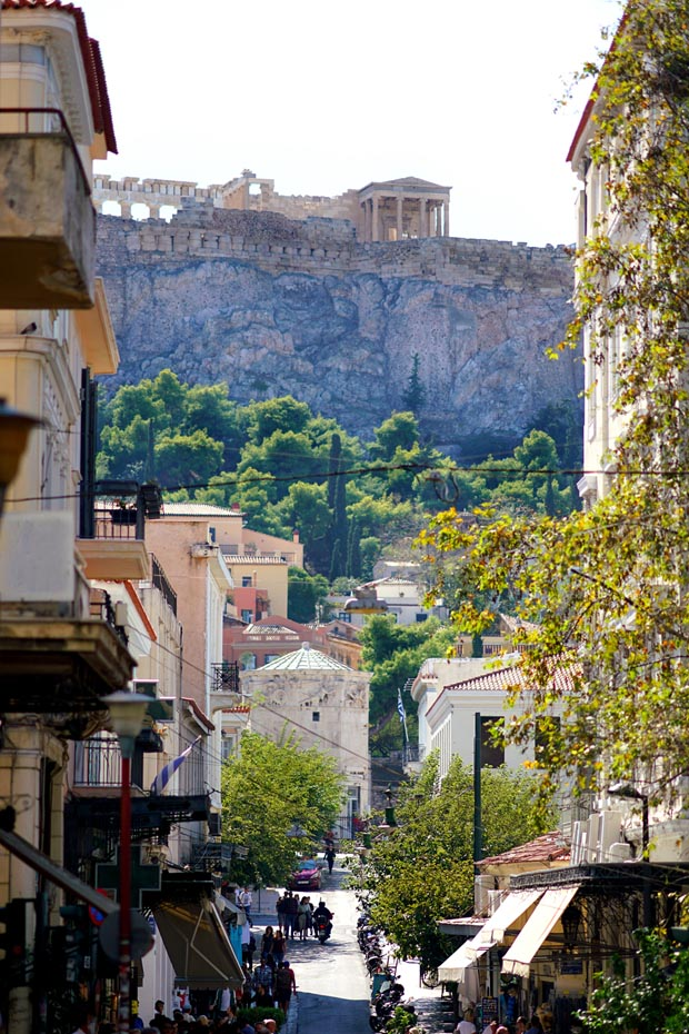 View of the Acropolis and Parthenon from Athens Street