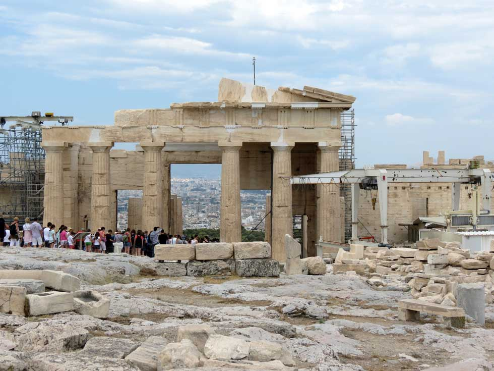 Acropolis Mount Athens Greece with tourists