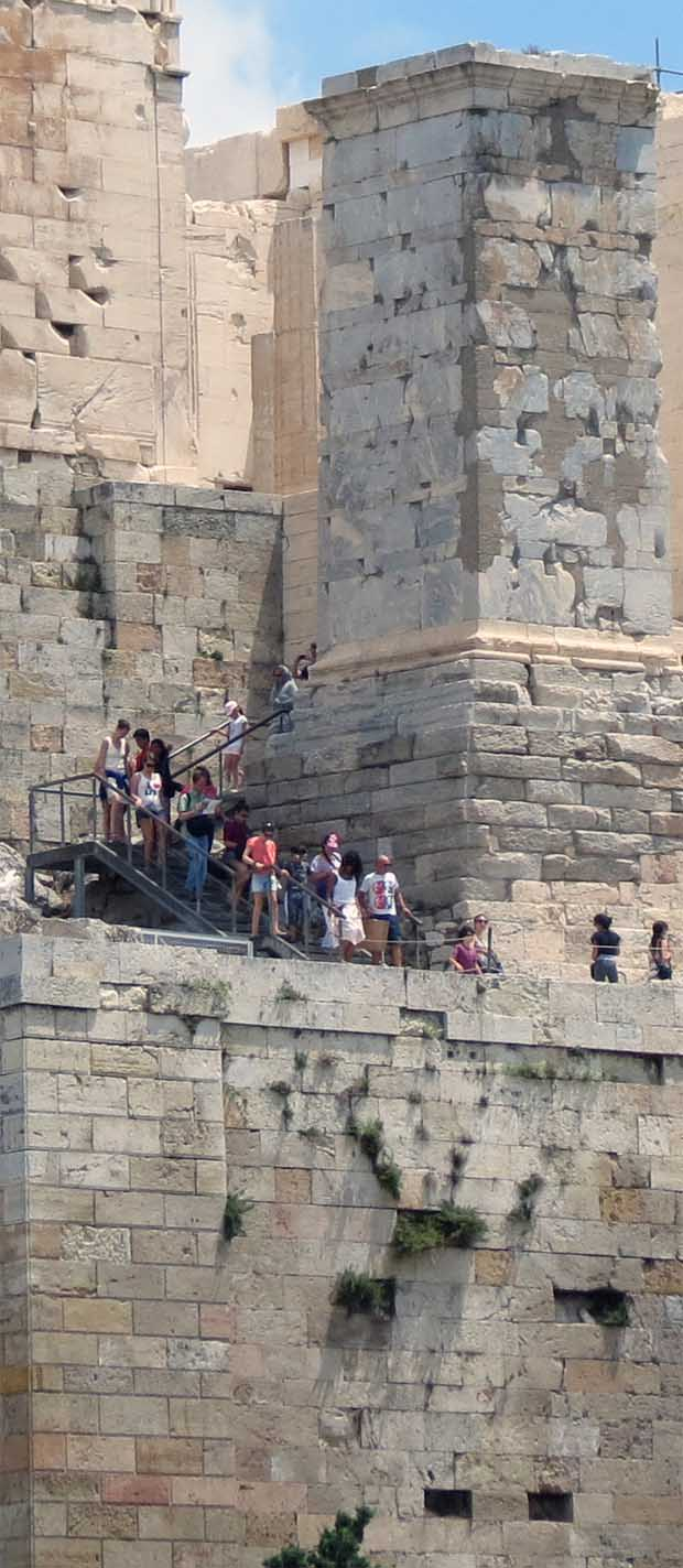 Tourists walking down from Acropolis