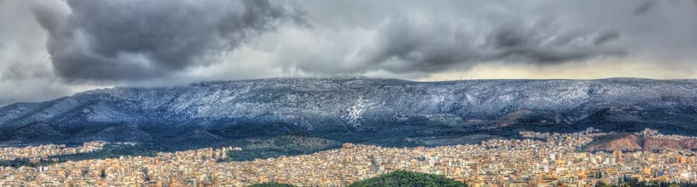 Hymettus Athens Greece Snow