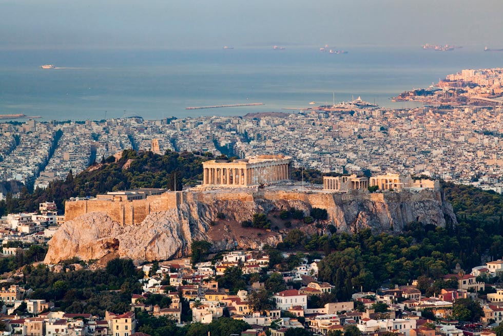 Acropolis in Greece with pireaus in background
