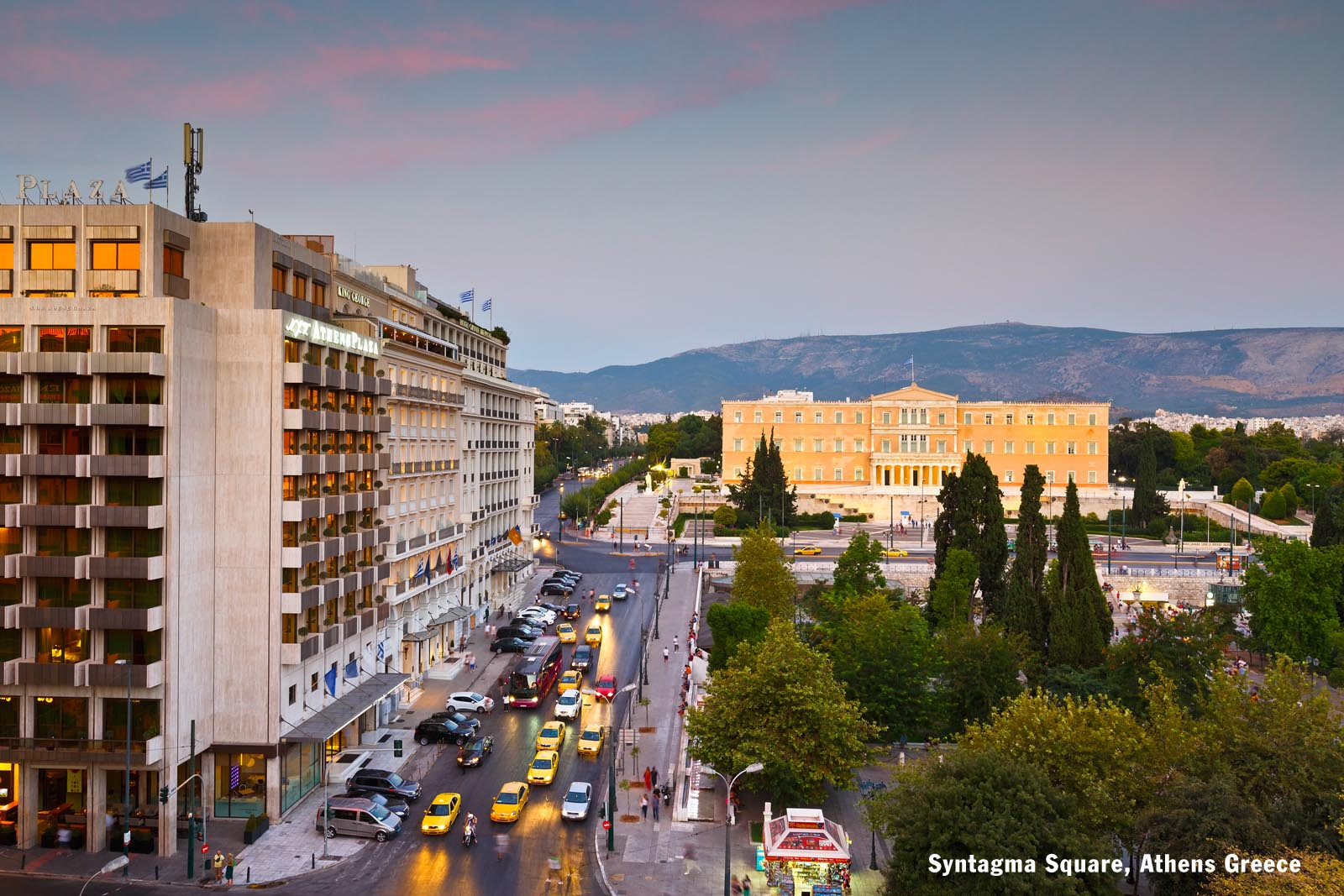 Enlarged - Syntagma Square Athens Greece with Hymettus in background