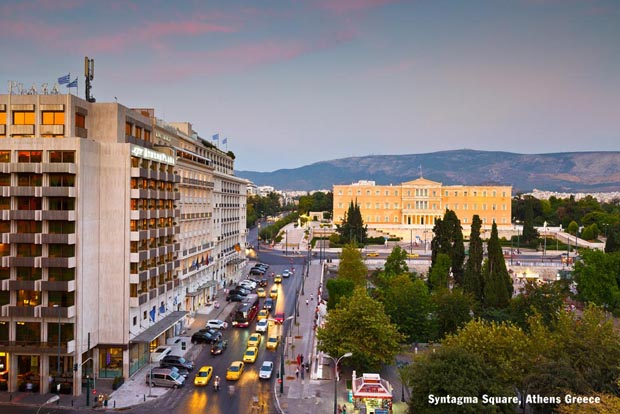Syntagma Square Athens Greece with Hymettus in background