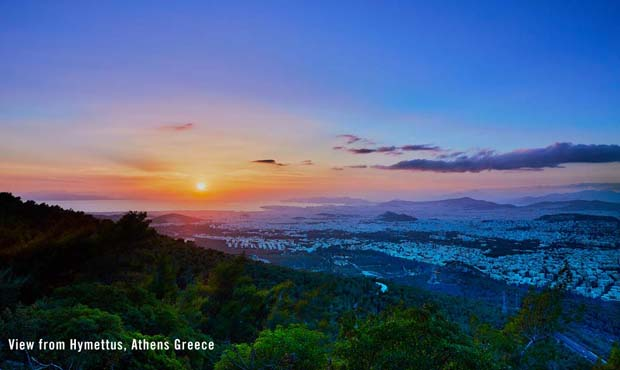 View from Hymettus Mountain overlooking Athens Greece