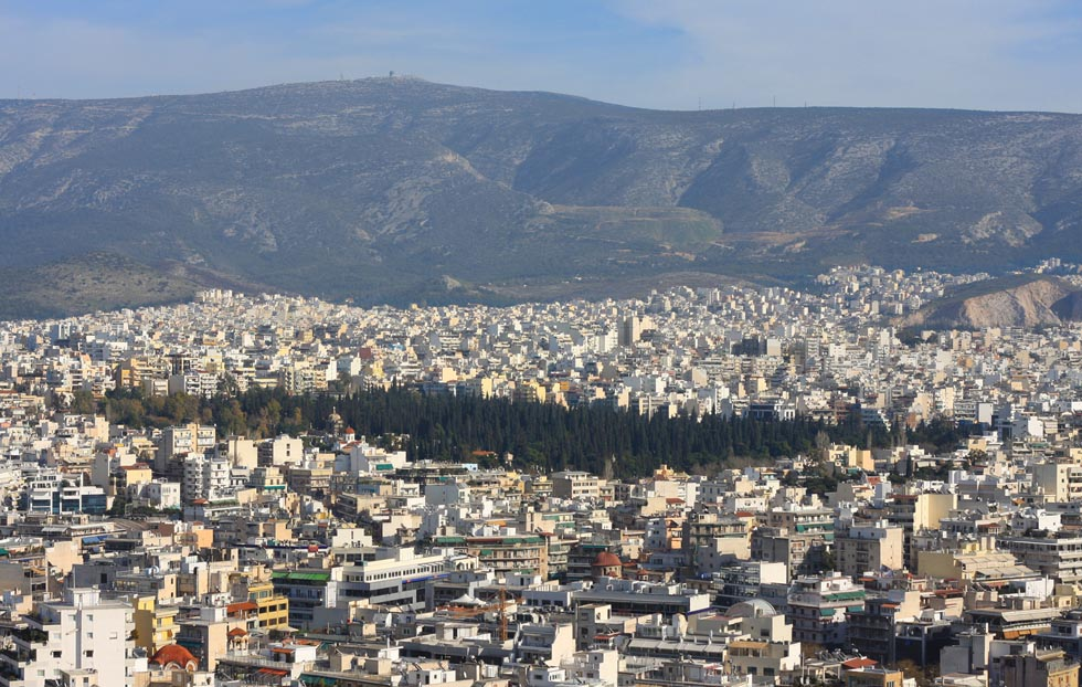 Mount Hymettus in Athens Greece