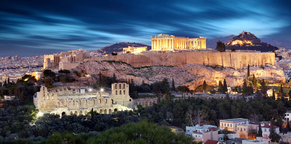 Parthenon Acropolis at dusk