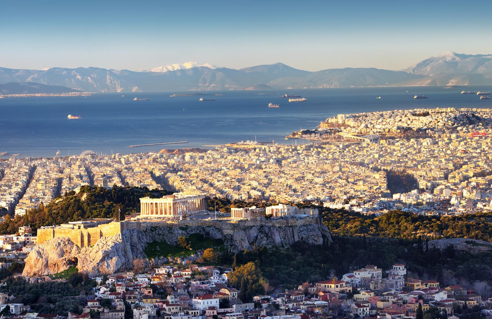 Enlarged: View of Athens and the Saronic Gulf with Acropolis