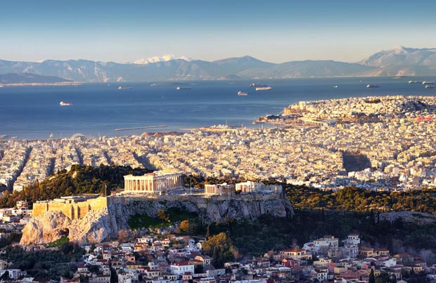 View of Athens and the Saronic Gulf with Acropolis