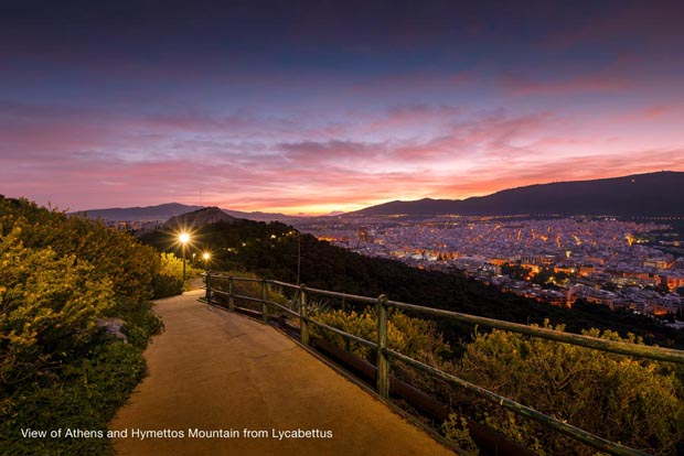 Hymettus Mountain in Athens at night