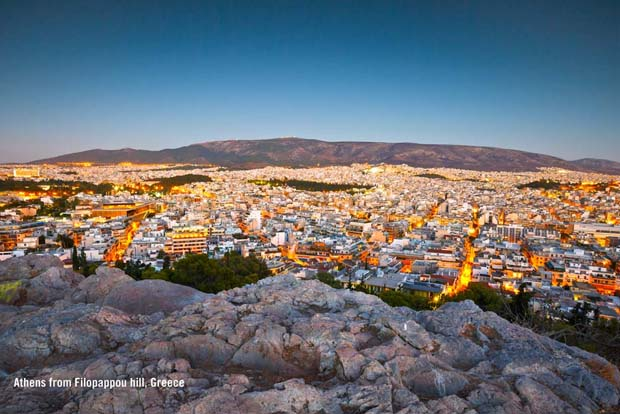 Athens from Filopappou hill, Greece.