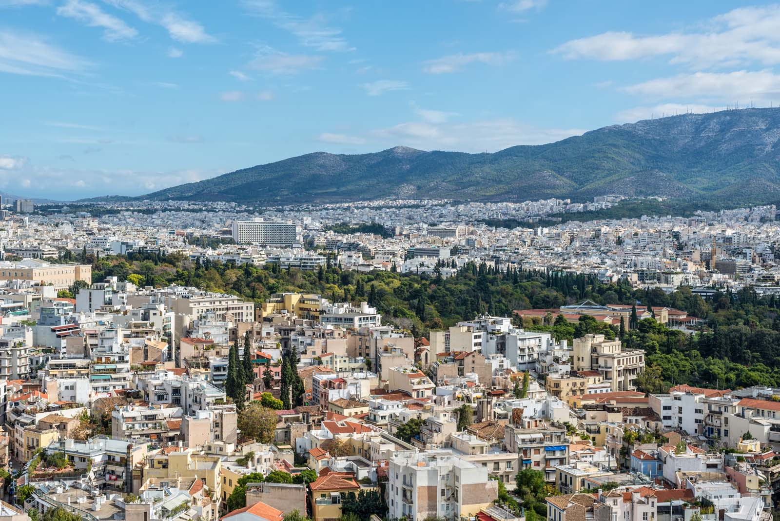 Enlarged - Hymettus Mountain and Athens Greece
