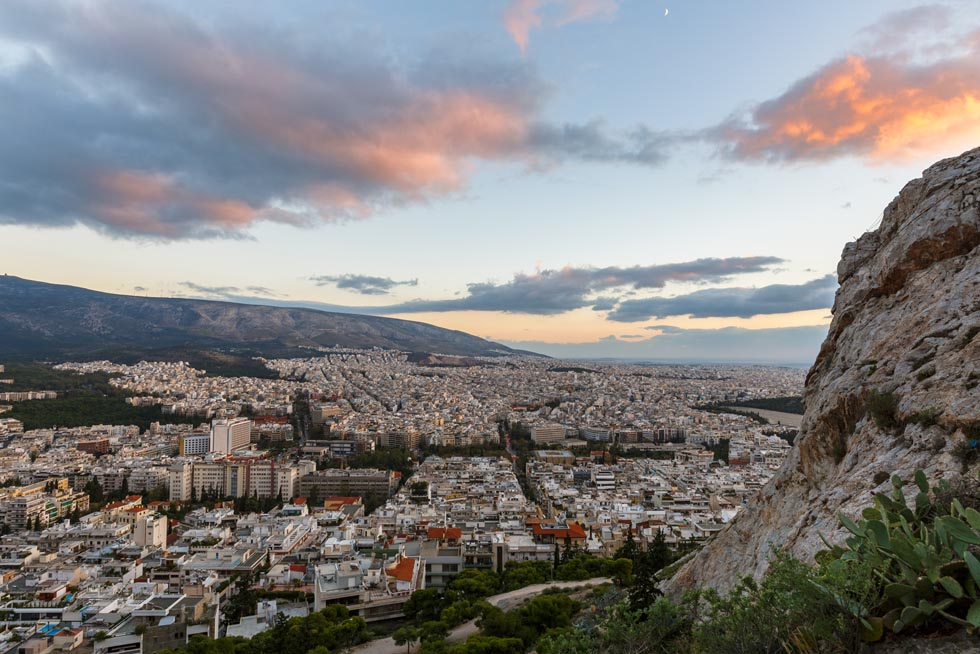 Athens Greece with Sunset