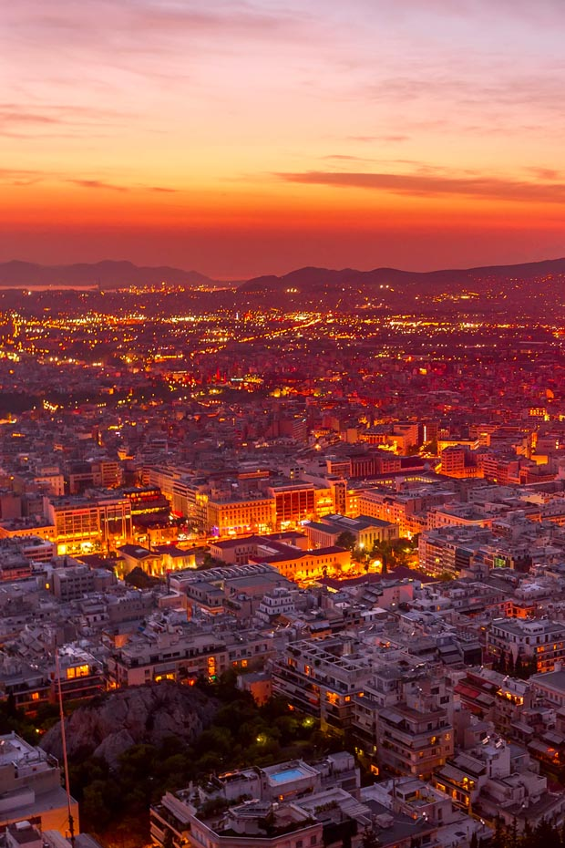 Athens at night from aerial Drone