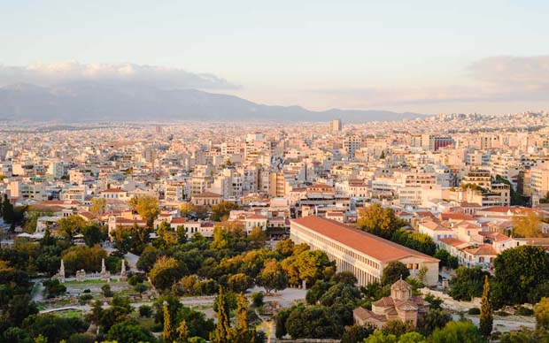 Panorama view of Athens Greece