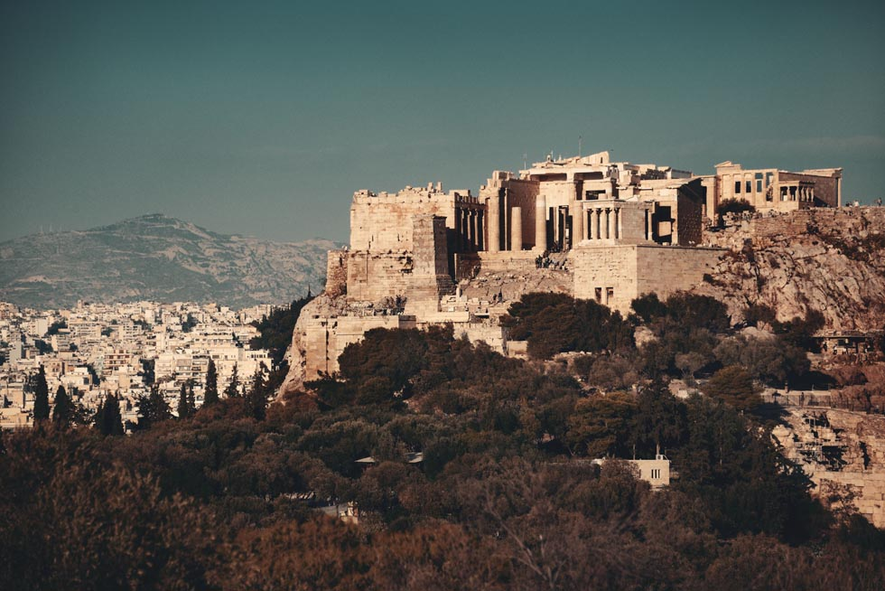 Acropolis over Athens Greece