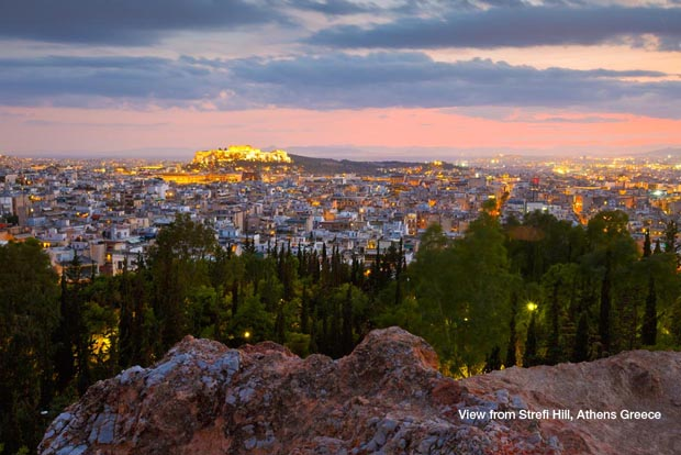 View of Athens Greece at night from Strefi Hill