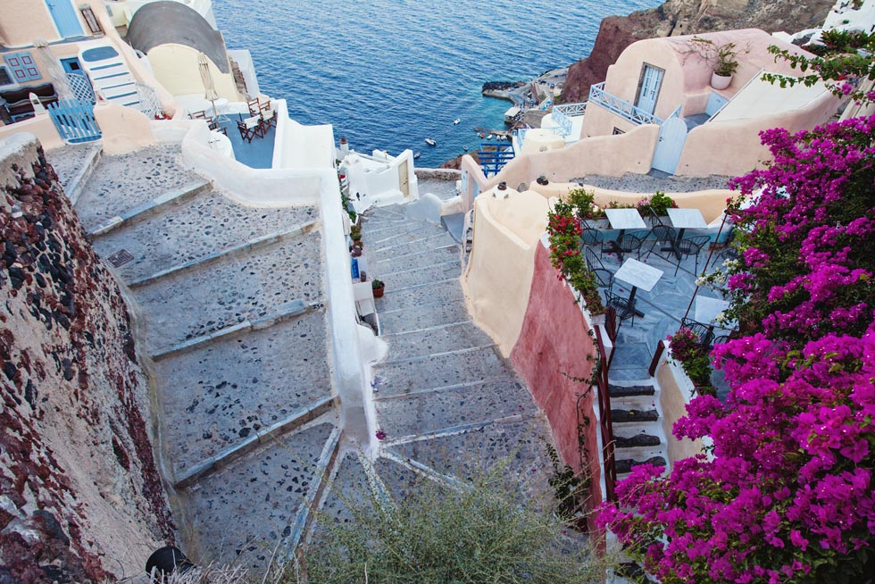 Stairs on Santorini Island also called Thira - Greece