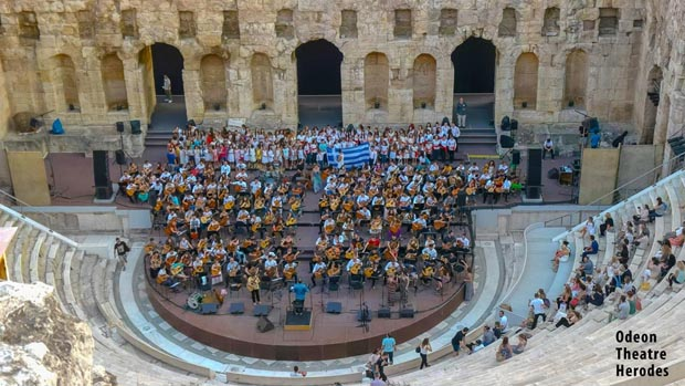 Musicians at the Odeon Theatre Acropolis Athens Greece